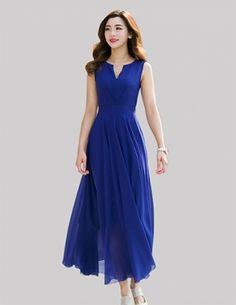 Đầm maxi cổ V màu xanh - A9826
