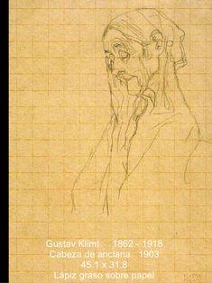 Gustav Klimt  1862 - 1918 Cabeza de anciana  1903 45.1 x 31.8 Lápiz graso sobre papel