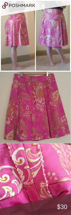 Talbots Pink Floral Pleated A-Line Full Skirt Such gorgeous colors in this skirt! The pink pops without being obnoxious. Knee length makes it classy enough for church or the office. Slightly pleated for fullness. Fully lined. Wide waistband makes it great to wear highwaisted!   Bought online - listed as size 12 - but not described as altered. The waist has been taken in so it fits more like an 8/10 in my opinion. See pic 3 for alteration inside. Measurements below. No size tag…