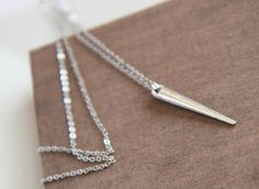 Long Layer Necklace Silver Spike Necklace   by lilabelledesign, $31.00  Long Layer Necklace, Silver Spike Necklace - Delicate Silver Necklace, Dainty Long Necklace, Pretty, Long Layer Necklace - Autumn Winter  https://www.etsy.com/listing/106658017/long-layer-necklace-silver-spike