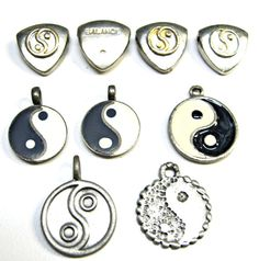 Yin Yang Epoxy Color Lot of 9 pieces Pewter by GrassShackTrading, $9.00
