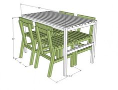I want to make this!  DIY Furniture Plan from Ana-White.com  A modern style outdoor dining chair that is both easy and inexpensive to build. Works with the Harriet Outdoor Table to create an inexpensive solid wood dining set. Features slatted seat and back, additional base supports.