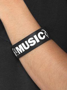 $1 I am Music Black Wide Silicone Bracelet
