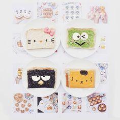 Cream cheese hello kitty, black sesame badtz, cheese pom pom purin & matcha milk kerropi toast by Anna Chan (@annachaannn)