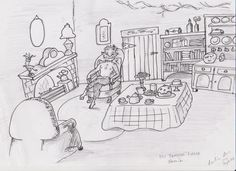 Week 36 House. One of my favourite houses from fiction is Mr Tumnus' house from The Lion The Witch and The Wardrobe. The original illustration was done by  Pauline Baynes http://en.wikipedia.org/wiki/Pauline_Baynes. I didn't realise what a strong influence this illustration had on me. I love wing back chairs and teapots.
