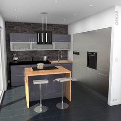cuisine industrielle design bleu gris et inox avec ilot central implantation en l plan - Cuisine En U Plan