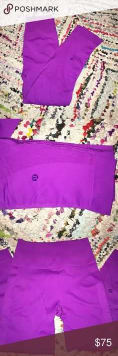 LULULEMON ZONE IN CROPS Color is tender violet, worn maybe twice. Perfect condition, no flaws. lululemon athletica Pants