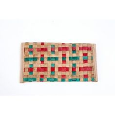 Red & Green Criss Cross Square Stitch Cane Wallet
