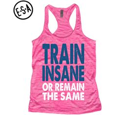 Train Insane or Remain the Same Workout Tank Motivational Tank Run Gym... (26 AUD) ❤ liked on Polyvore featuring activewear, activewear tops, silver, tanks, tops and women's clothing