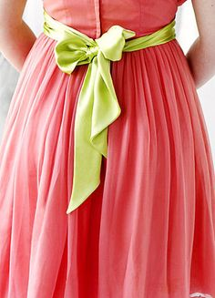 Pink and lime green: watermelon colors.  :)