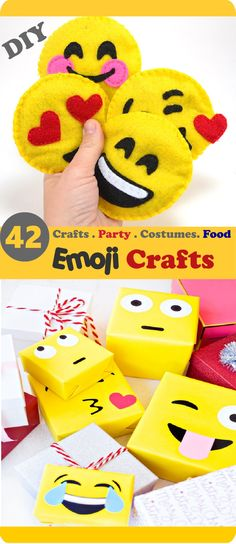 Step by Step Emoji Crafts: DIY  Emoji Crafts 2.Emoji Toys 3.Party Ideas 4.Crochet 5.Emoji costumes, shirts 6.Cupcakes Cookies 7.Gifts Stickers & Pins