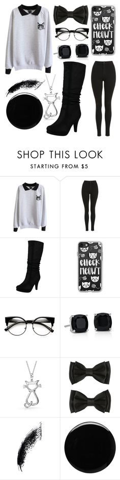 """""""Check Meow't"""" by jaqsancake ❤ liked on Polyvore featuring Topshop, Top Moda, Casetify, Blue Nile, Bling Jewelry, Deborah Lippmann and blackboots"""