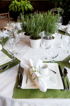 Rosemary, white & green for a summery table setting table scape. http://www.annabelchaffer.com/categories/Dining-Accessories/