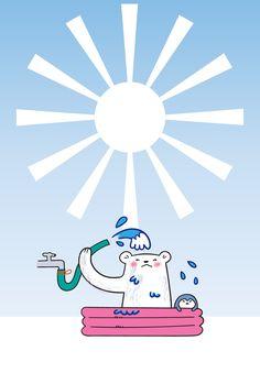 ビニールプールで水浴びする白くまとペンギン 白い太陽 暑中・残暑見舞いはがき用