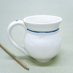 Ceramic coffee mug glazed Pottery White Glossy latte chai cup Handmade Kitchen Ceramics mugs Blue dot