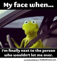 OH YEAH! Kermit the Frog Face Finally Next to the Person Who Wouldn't Let Me Over Driving ---- best hilarious jokes funny pictures walmart humor fail Funny Shit, Haha Funny, Funny Jokes, Funny Stuff, Siri Funny, Hilarious Work Memes, Funny Kermit Memes, Terrible Jokes, Funny Man