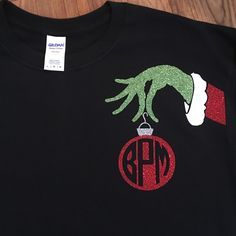 We LOVE this Mr Grinch monogram shirt! So cute for Christmas!