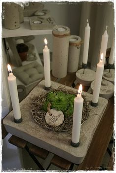 Cement stone with candle cups