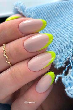 Acrylic Nails Almond Shape, French Tip Acrylic Nails, French Tip Nail Designs, Cute Acrylic Nails, Acrylic Nail Designs, Neon French Manicure, Almond Gel Nails, Almond Nails Designs, Colored French Nails