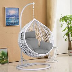 tinkertonk Rattan Swing Chair Patio Garden Wicker Hanging Egg Chair Hammock w/Cushion & Cover Indoor or Outdoor---Max.150kg White: Amazon.co.uk: Garden & Outdoors