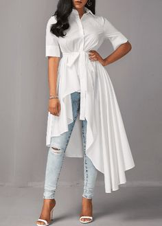 Asymmetric Hem Half Sleeve White Long Blouse USD39.17 Style :Fashion Collar :Turndown Collar Sleeve's Length :Half Sleeve Pattern Type :Solid Clothing's Length :Regular Material :Polyester Package Contents : 1 x Blouse, 1 x Belt, Without Accessories