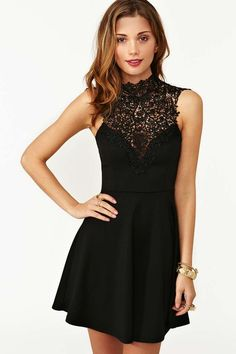 Tied Crochet Skater Dress - Black at Nasty Gal  So sad this is sold out :(, really wanted it!