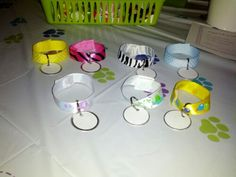 Puppy Party. Cute ideas for collars (velcro dots to close them, key chain tags for name tags).
