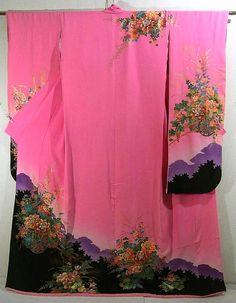 Asian Antiques Objective Vintage Japonés Rojo Bordado Seda Kimono Tres Dedos Dragón Modern And Elegant In Fashion