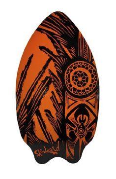 Neon Orange and Black Tribal Spider and ... skim board