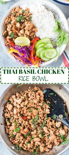 Hearty rice bowl with Thai basil Chicken,Crunchy fresh salad and off course rice.Takes 15 minutes to cook and five minutes to put together the rice bowl.