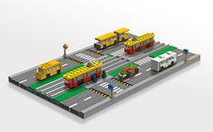 micro road Lego Coast Guard, Micro Lego, Lego Boards, Lego Trains, Lego Architecture, Minecraft Party, Lego Projects, Lego Moc, Cool Lego