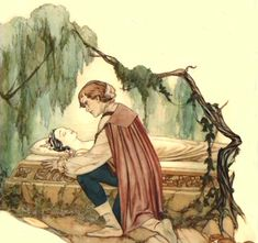 The Prince revives Snow White with love's first kiss. Inspirational sketch by Gustaf Tenggren