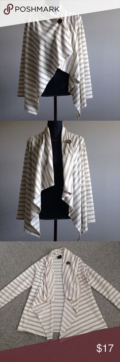 Bobeau Wrap Cardigan Sweater Size L but fits a M as well. Good condition. One button closure. Color: beige/cream bobeau Sweaters Cardigans