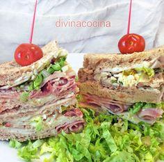 Sándwich Club < Divina Cocina Deli Sandwiches, Deli Food, Chapati, Picnic Foods, Breakfast Lunch Dinner, Recipe Images, Canapes, Quesadilla, Fajitas