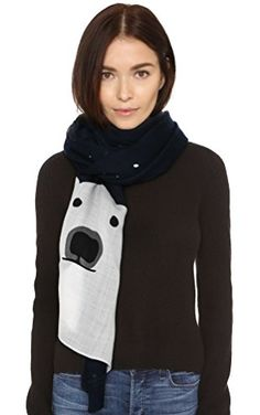 Kate Spade New York Women's Polar Bear Scarf, Rich Navy, One Size ❤ Kate Spade New York