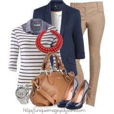 Casual work outfit: blue blazer, chambray shirt, striped shirt, tan pants, coral necklace, LOVE THIS WHOLE OUTFIT