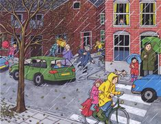 Rain Illustration, Picture Comprehension, Picture Composition, Picture Search, Picture Description, Elementary Art, Art Pictures, Creative Art, Childhood Memories