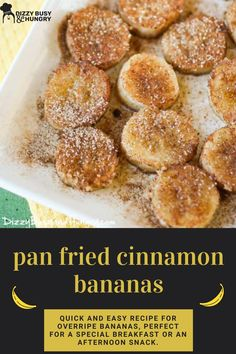 Pan fried bananas made using ripe bananas.  Use them as toppings in cereal, pancakes, waffles and ice cream #dizzybusyandhungry #icecream #bananas #ripebananas #desserts Best Dessert Recipes, Fruit Recipes, Brunch Recipes, Fun Desserts, Snack Recipes, Cooking Recipes, Breakfast Sausage Recipes, Bacon Recipes, Fried Bananas