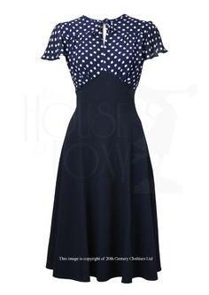 40s Tea Dress - Navy Polka The House of Foxy, UK