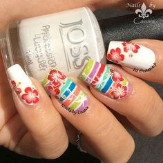 Nails by Cassis: Colourful Tropical Stripe Mani #nails #nailart #nailstamping #moyoulondon #bornprettystore