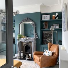 Thanks to for the image. There are so many design features to love in this room. The painted floating shelves and walls in Farrow and Ball Inchyra Blue. Dark Green Living Room, Dark Living Rooms, Dining Room Blue, Living Room Paint, My Living Room, Blue Walls Kitchen, 1930s Living Room, Victorian Living Room, Victorian House