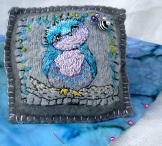 Embroidered Owl on Wool Pincushion