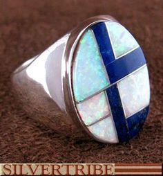 Navajo Jewelry Lapis And Opal Inlay Genuine Sterling Silver Ring