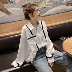 Edgy Outfits, Korean Outfits, Cute Casual Outfits, Fashion Outfits, Women In China, Fashion Illustration Sketches, Oversized Shirt, Fashion Stylist, Aesthetic Clothes