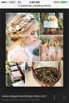 Love all if these ideas! The flowers through the braid, the pillows on the chair, the basket of little flowers, everything.