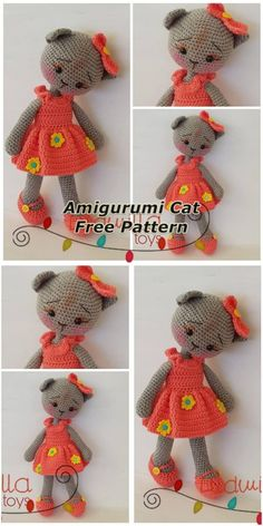 In this article we will share the amigurumi cat free crochet pattern. Amigurumi related to everything you can not find and share with you. Chat Crochet, Crochet Patterns Amigurumi, Free Crochet, Crochet Baby, Single Crochet, Amigurumi Doll, Crochet Dolls Free Patterns, Crochet Doll Pattern, Knitting Patterns