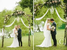 handmade DIY rustic wedding arbor by groom and his father