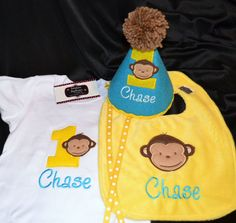 $50 Modern Monkey Boy 1st First  Birthday Hat  by sunshinedaydream4u, 67.90