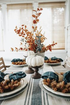 Blue + Earth-Toned Fall Tablescape