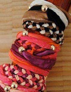 DIY stash bracelets -- ribbon, fabric and beading
